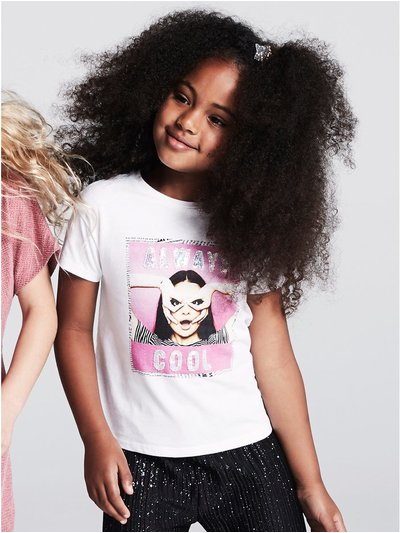 Sequin face print slogan t-shirt (3 - 12 yrs)