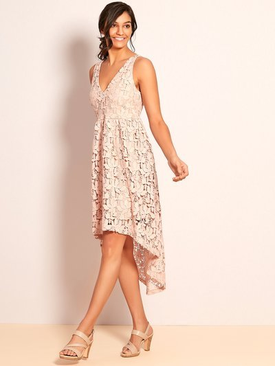 VILA floral lace dip hem dress