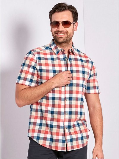 Block check short sleeve shirt