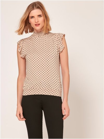 High neck spot print top