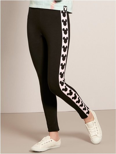 Teen Disney Mickey Mouse stripe leggings
