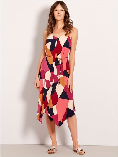 Colour block hanky hem dress