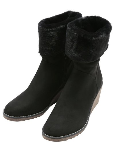 Alexis fur cuff wedge boot
