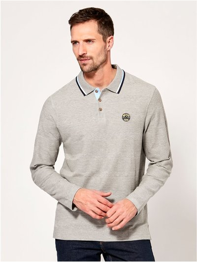 Long sleeve grey polo shirt