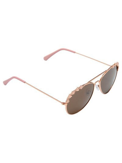 Teens' floral trim aviator sunglasses