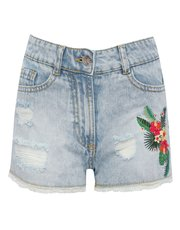 Teens' floral embroidered denim shorts