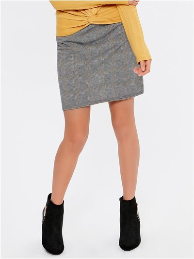 Teen check tube skirt
