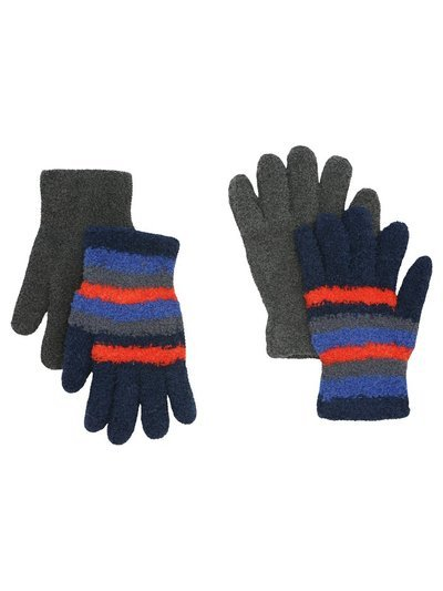 Stripe fleece gloves two pack