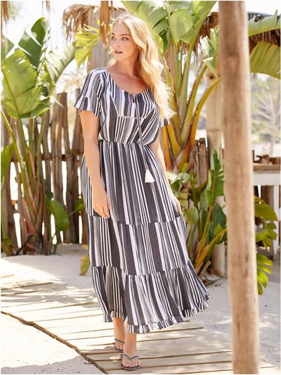 Plus stripe tiered maxi dress