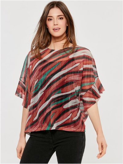Abstract plisse top