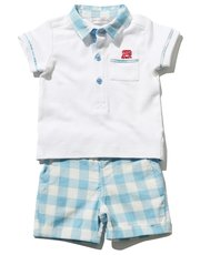 Polo shirt and check shorts set