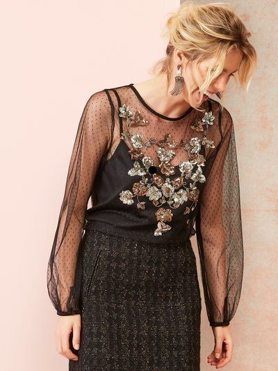 Sequin embellished spot mesh top