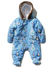 Bear print hooded snowsuit
