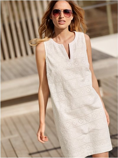 Petite broderie anglaise shift dress