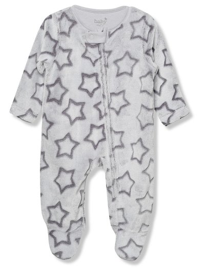 Star fleece sleepsuit (Tiny baby - 18 mths)
