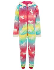 Teen's unicorn rainbow fleece onesie