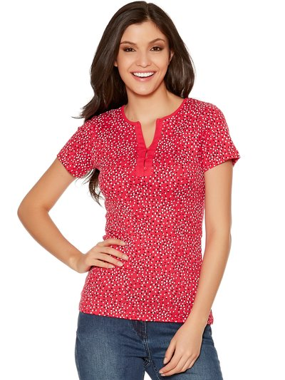 Spot print button neck top