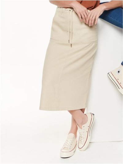 Herringbone midi skirt