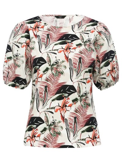 Petite tropical print puff sleeve top