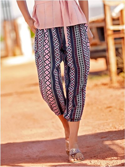 Tribal print cropped trousers
