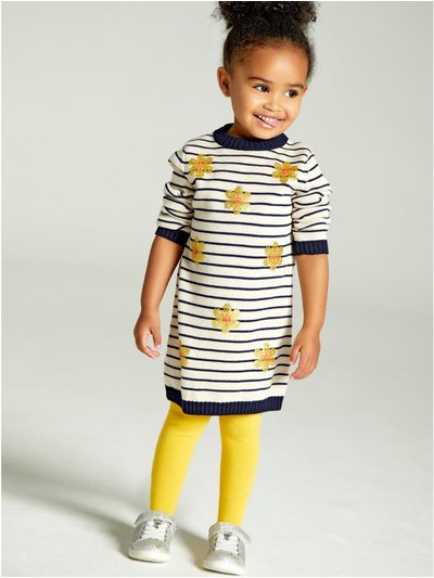 Sequin stripe jumper dress and tights set (9mths-5yrs)