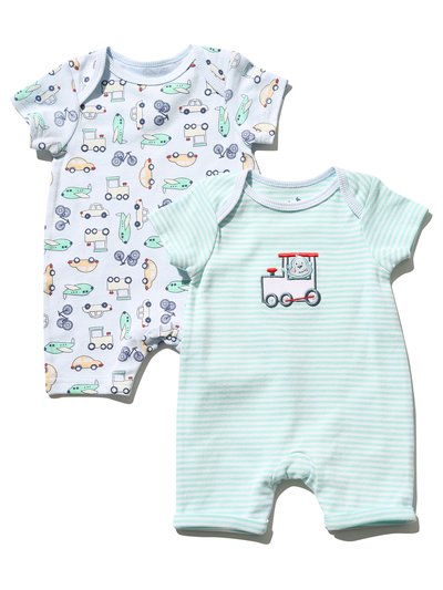 Train rompers two pack (Newborn - 18 mths)