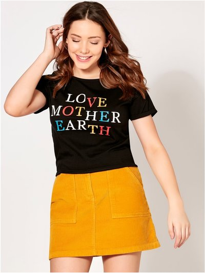 Teen love mother earth slogan t-shirt