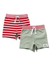 Stripe and plain shorts two pack