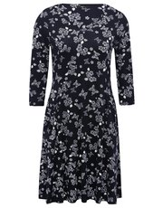 Petite butterfly print v-neck swing dress