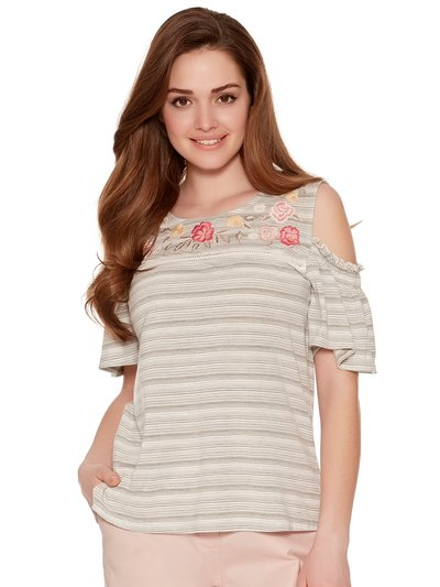 Petite embroidered cold shoulder top