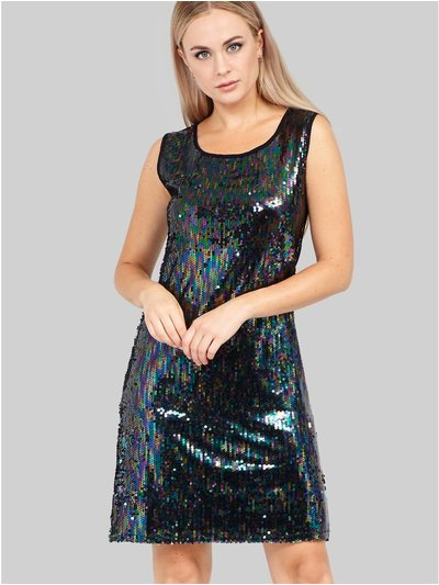 Izabel sequin front shift dress