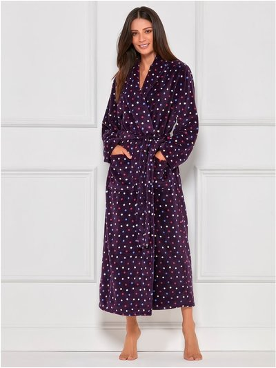 Spot fleece full length dressing gown