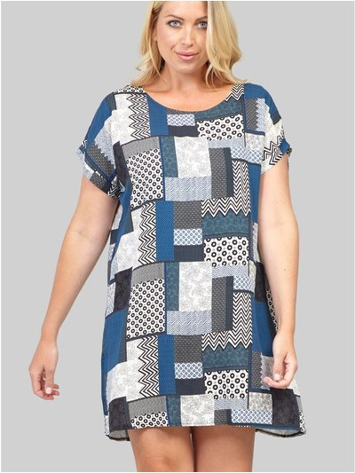 Izabel Curve patchwork shift dress