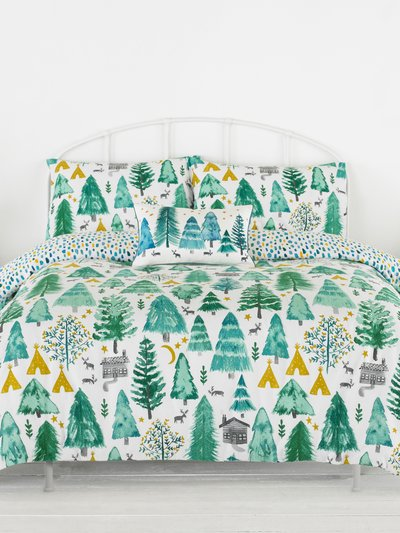 Brushed cotton tree print duvet set