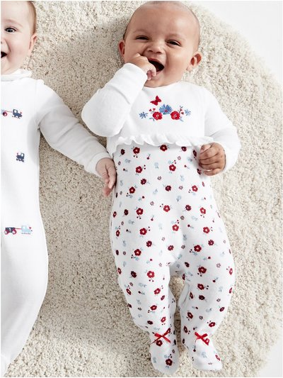 Floral velour sleepsuit (Tinybaby-18mths)