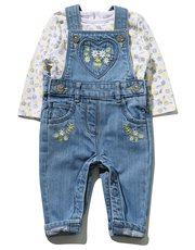 Daisy top and embroidered dungarees set (0 mths - 2 yrs)