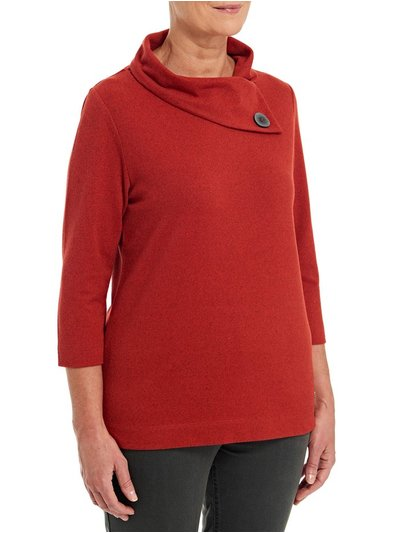 TIGI asymetric button cowl neck top