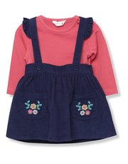 Floral pinny dress and top set (Newborn - 18 mths)
