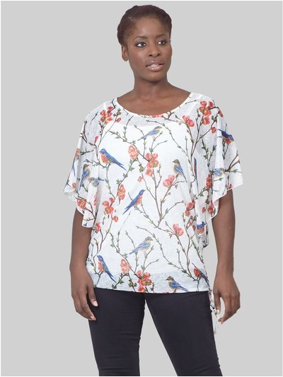 Izabel Curve bird print tie side t-shirt