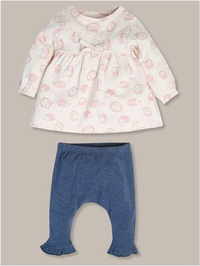 Hedgehog print dress and legging set  (newborn-18mths)