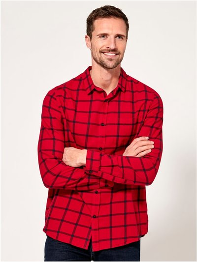 Square check red long sleeve shirt